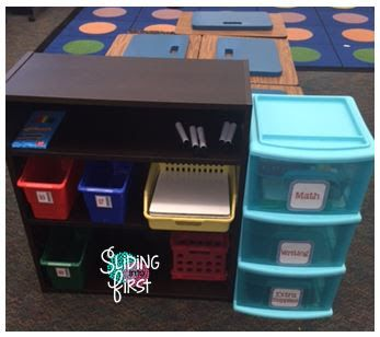 Sliding into First!, classroom organization, classroom storage, student supplies, student storage, primary, elementary, 1st grade, back to school, alternative seating, flexible seating