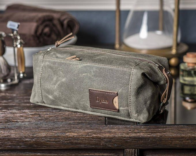 Blue Silver Mens Personalized Travel Kit Waxed Canvas Travel Kit