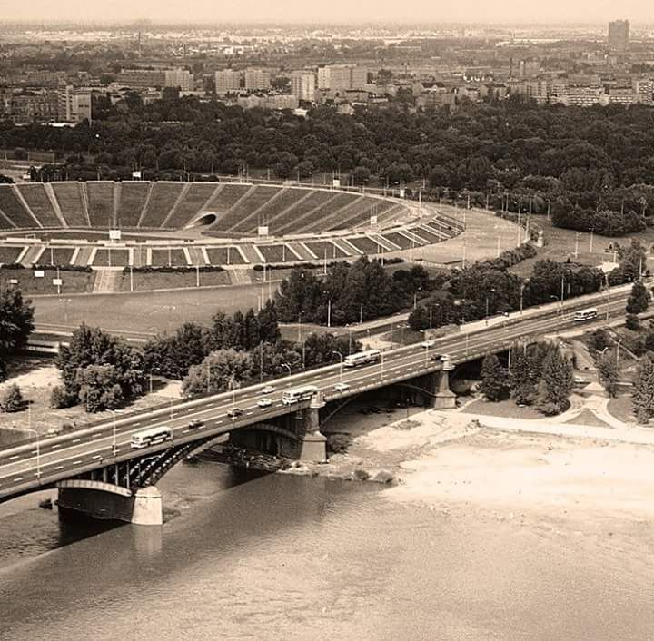 View over Warsaw's Stadion X-lecia in 1976