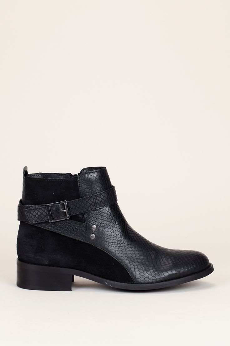 Bottines noires cuir cuède/croco Farel - Cosmoparis