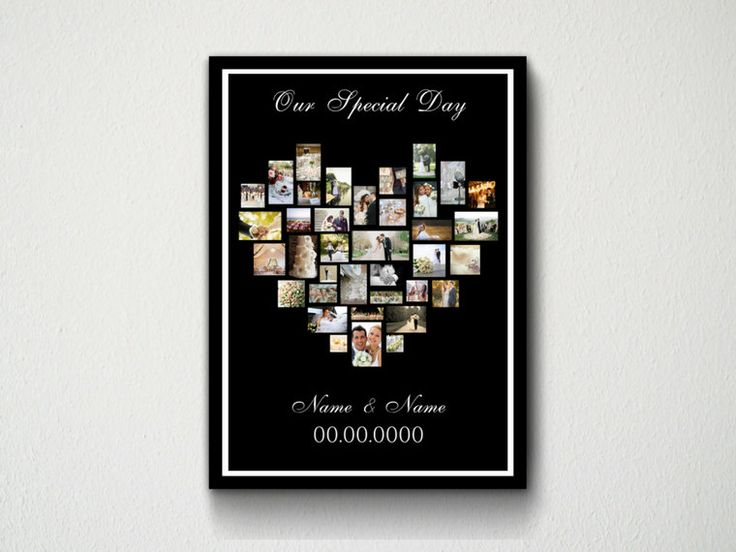 Digital Download Customisable Printable Heart Photo Collage Wall Art Print, Typography, Wedding, Engagement, Family, Pets, Friends, Quotes by DesignsByMoniqueAU on Etsy
