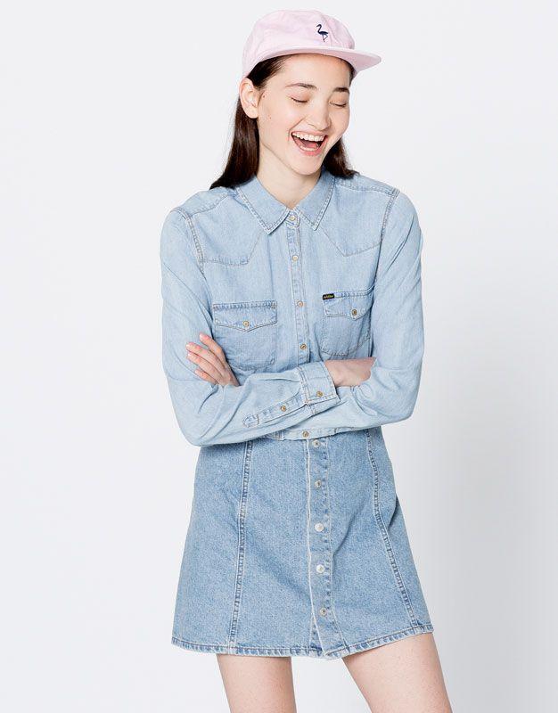 Western denim shirt - Blouses & shirts - Clothing - Woman - PULL&BEAR Turkey