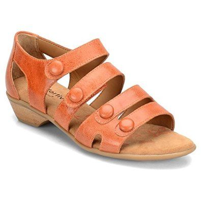 Take a look at this Comfortiva by Söfft Poppy Orange Reading Leather Sandal  today!