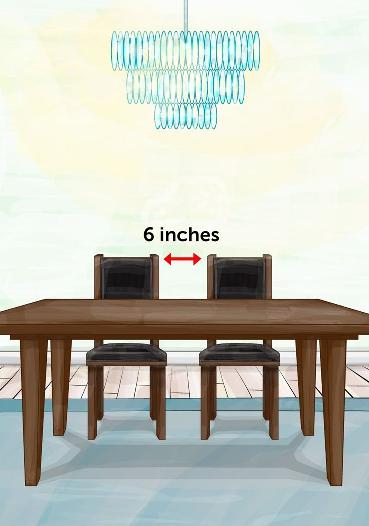Dining Chairs Chairs and chair arms should be able to slide under a table easily. Allow for several inches between the chair arm and apron of the table.   Place dining chairs 6 inches apart at an absolute minimum, to prevent diners from colliding with one anothe   Read more: http://www.oprah.com/home/The-Property-Brothers-Design-Cheat-Sheet_1#ixzz45YbkaU2n