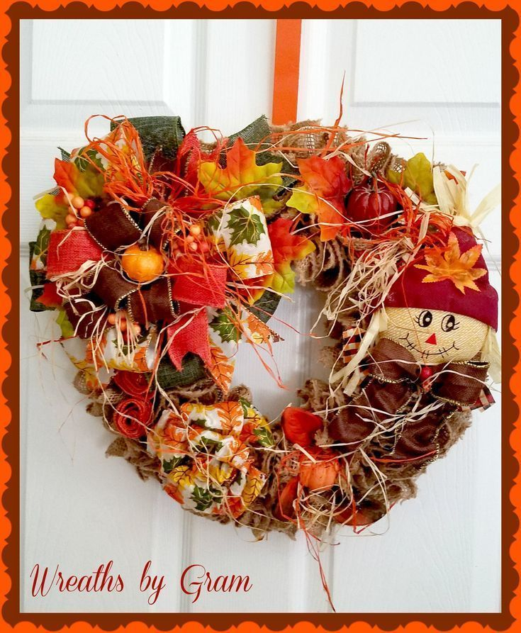 Fall Wreaths for Front Door; Thanksgiving Decor; Autumn Wreath