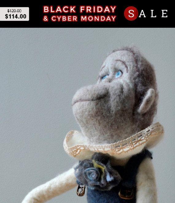 Black Friday Monkeys  Art Dolls Interior doll felted by SandalFelt