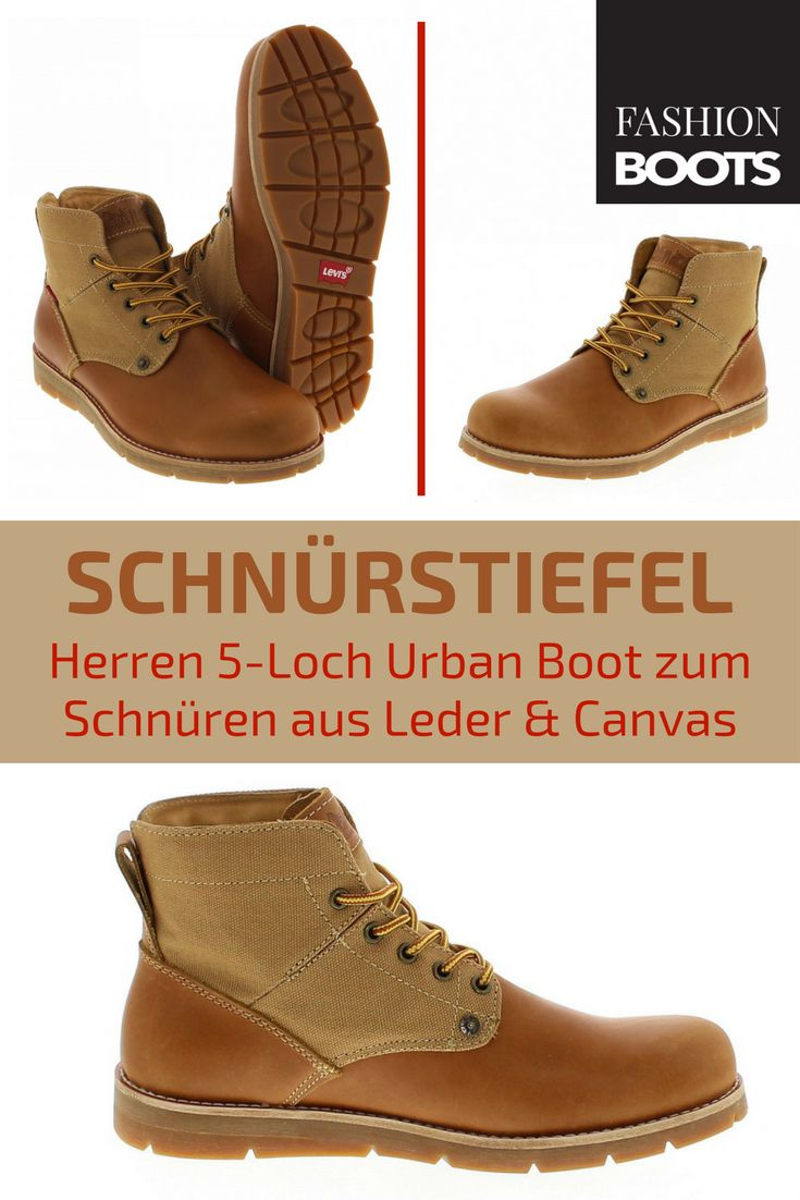 Levi´s Footwear JAX Medium Yellow Schnürstiefel - braun | Trendiger Herren 5-Loch Urban Boot zum Schnüren aus Leder und Canvas