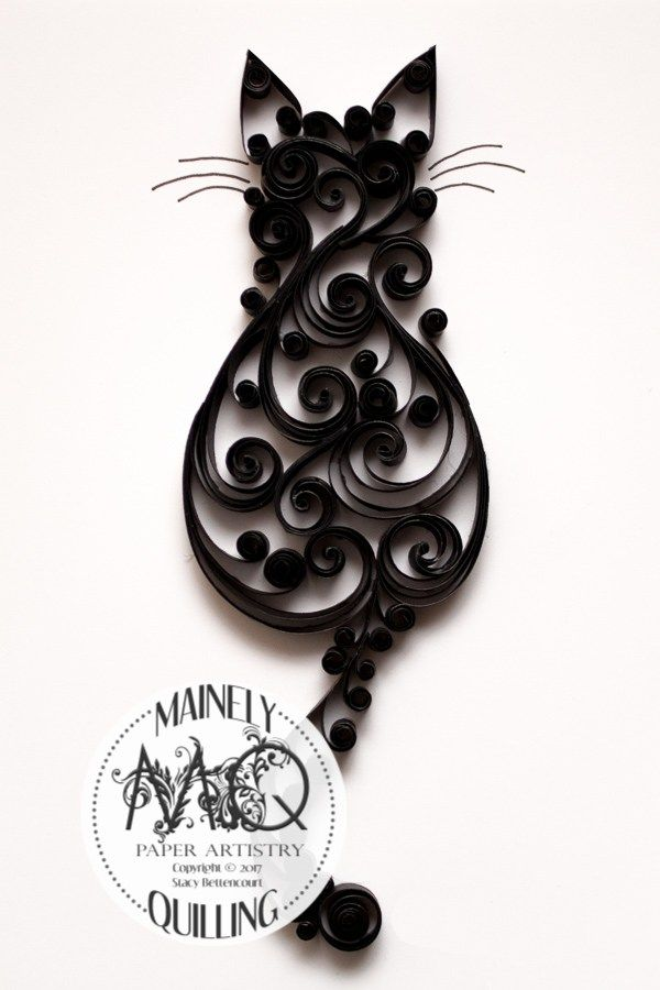 The quilled scrollwork cat series by artist Stacy Bettencourt, owner of Mainely Quilling in Jefferson, Maine.