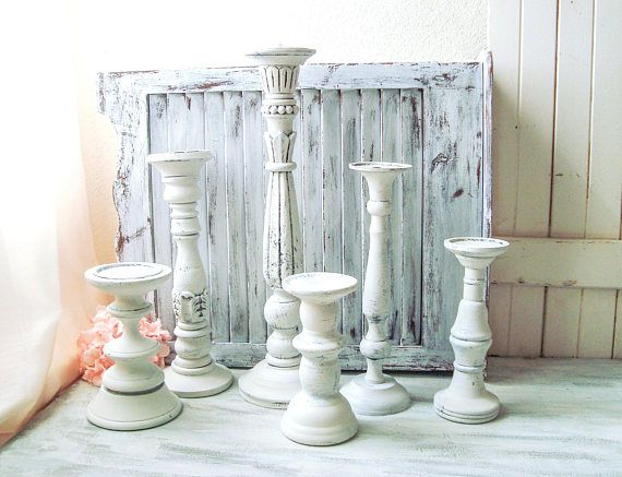 Farmhouse White Tall Candleholders Rustic White Distressed