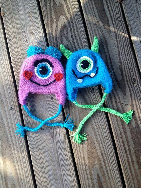 Instant Download  PDF Monster Hat Crochet Pattern  di BizeeB