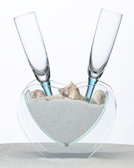 Heart Vase W Toasting Wine Champagne Glasses Flutes Beach