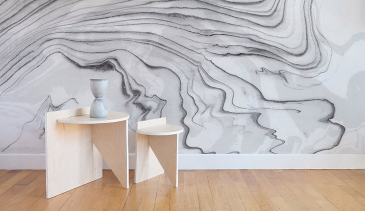 Calico's Sumi Wallpaper is made by floating ink on water to create rippling effects | azuremagazine.com