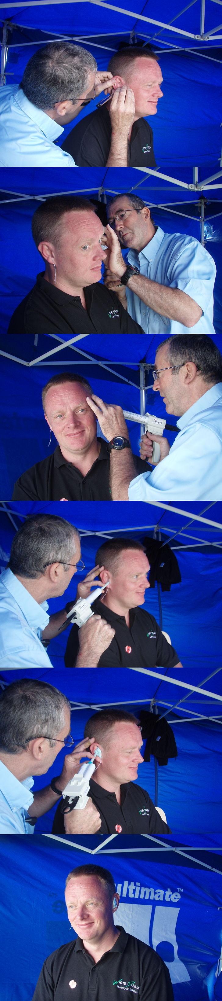 Getting custom made ear plugs made at the London Bike Festival