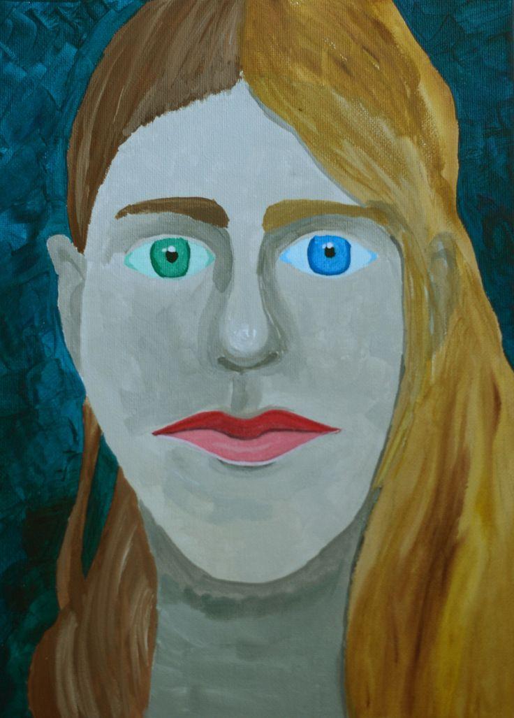 Acrylic self-portrait on canvas.