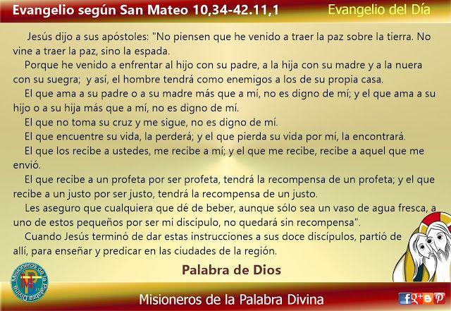 Misioneros de la Palabra Divina: EVANGELIO - SAN MATEO 10,34-42.11,1