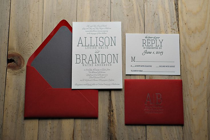 modern typography letterpress wedding invitation