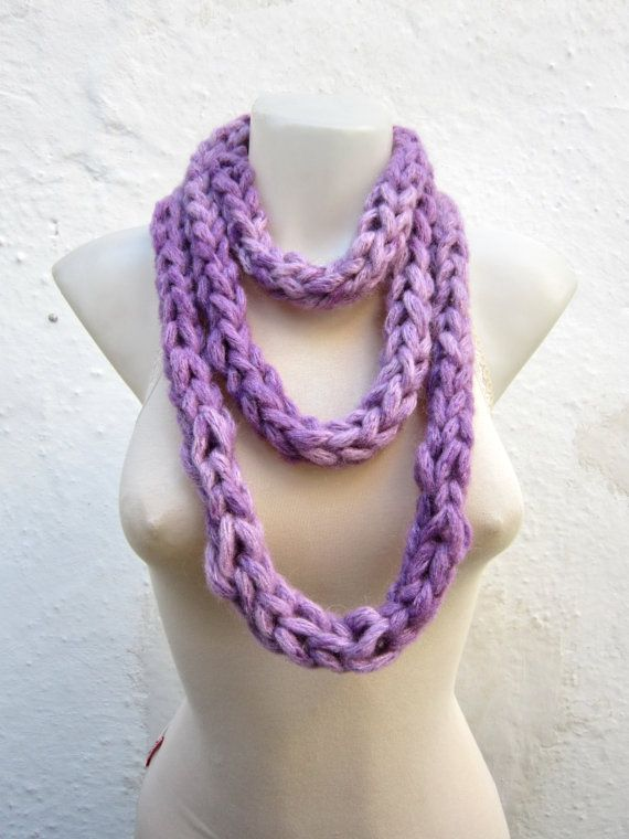 infinity scarf Finger Knitting Scarf Lilac  Necklace by nurlu