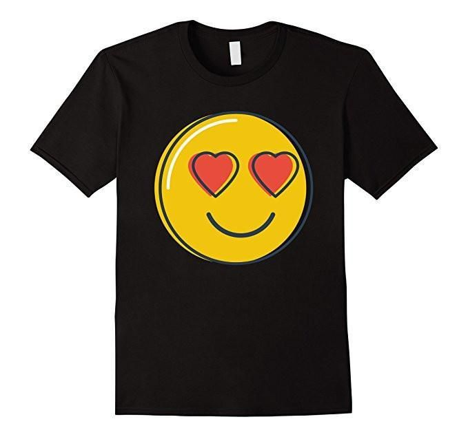 Women's Men's Love Emoji Heart Eyes Smiley Emoji T-Shirt