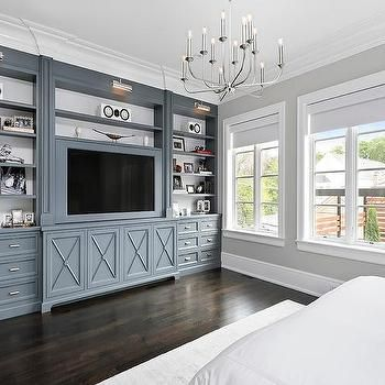 Gunmetal Gray Bedroom Built Ins with Polished Nickel Picture Lights