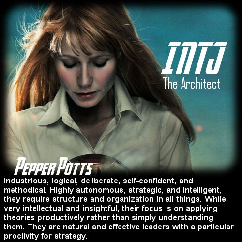 Behind the Mask: The Avengers Personality Chart - Pepper Potts [INTJ]