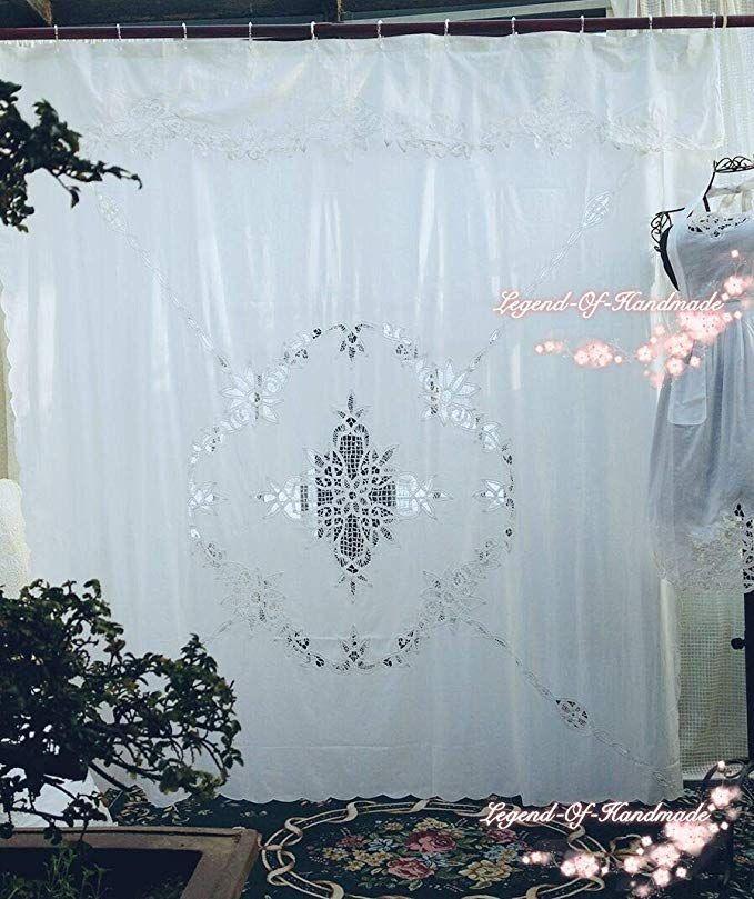 Amazon Com Fidgetgear Vintage Style Battenburg Lace Shower Curtain Pure Cotton White 72 X72 Elegant Ho Curtains Boho