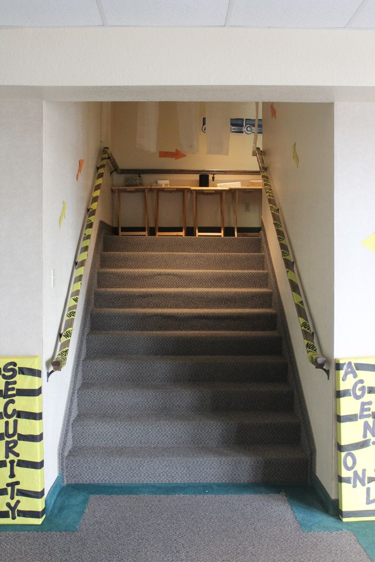 """""""Security"""" """"Agents Only"""" Stair entryway"""