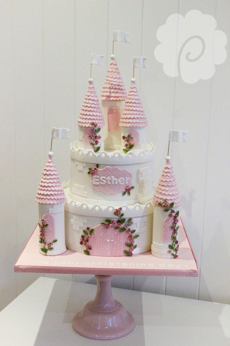 Cute Girls Princess Castle Cake Girls Pink White