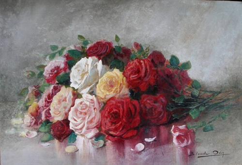 Rose painting - Bouquet of various roses  Blanche Odin
