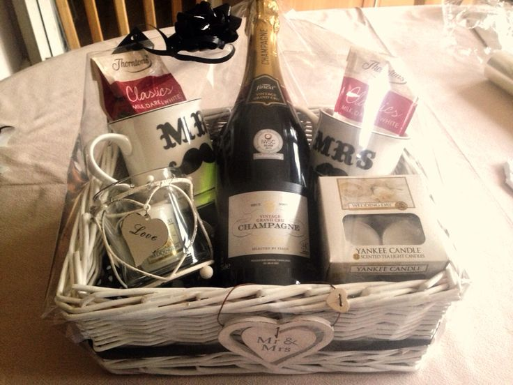 Wedding present hamper idea his and hers theme with champagne, Yankee candles, mugs and chocolates