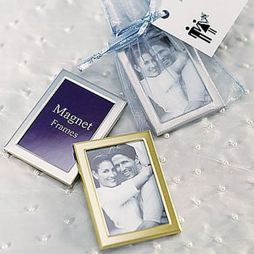 Traditionally used to hold a memorable photo of the bride and groom, mini picture frames are also great as place card holders, save-the-date reminders or to hold a thoughtful message perfect for any occasion. These miniature size picture frames have a magnetic backing. Available in brushed silver and matte gold.