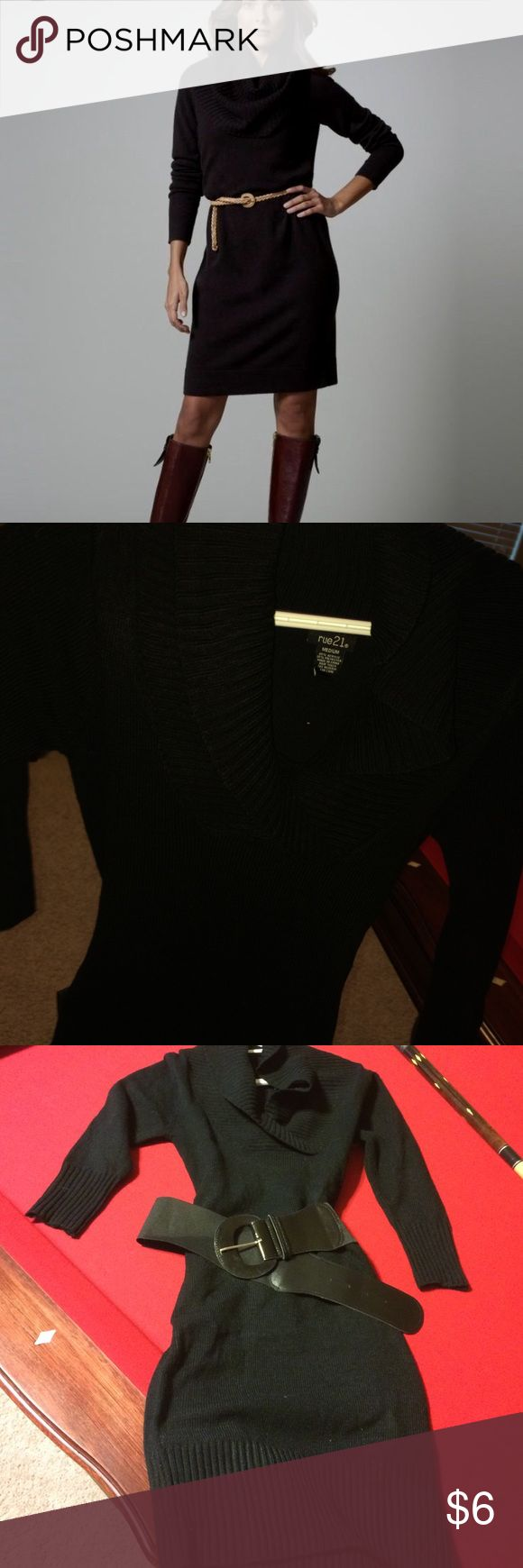 Sweater dress Perfect condition black sweater dress! Perfect for winter. Belt comes with it:) size small Rue 21 Dresses