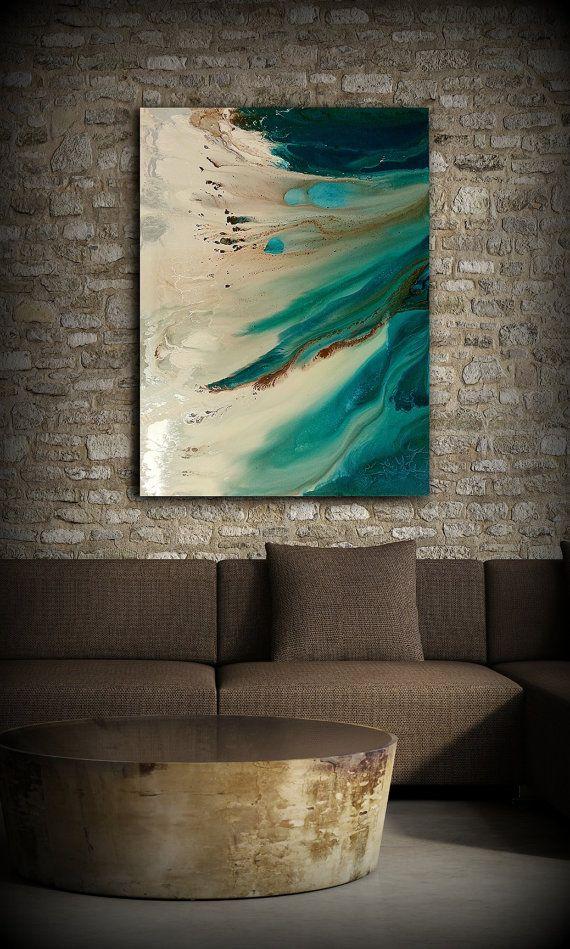 Art peinture, peinture originale, peinture acrylique peinture abstraite, peinture côtière, Art mural Extra Large, Decor maison côtière 36 x 48