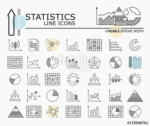 "Download the royalty-free vector ""Statistics line icons with minimal nodes and editable stroke width and style"" designed by dropix at the lowest price on Fotolia.com. Browse our cheap image bank online to find the perfect stock vector for your marketing projects!"