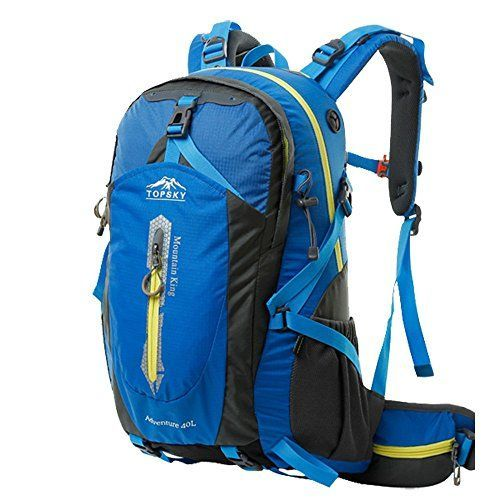 Topsky Outdoor Sports Camping Hiking Waterproof Backpack Daypacks Mountaineering Bag 40L 50L Travel Trekking Rucksack with Rain Cover Blue 40L -- You can get more details by clicking on the image.
