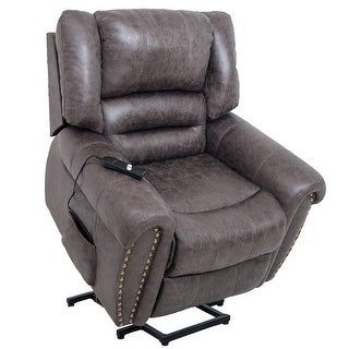 Harper Bright Designs Smoky Brown Heavy-Duty Power Lift Recliner Chair designed for both function and style features specialized motor powered to lift and reclining features, perfectly accommodating those with limited mobility such as the elderly or injured and giving them mobile independence. Mobility, comfort, and style are seamlessly fused together in a premium build with Lift Chair and Power Recliner. Crafted with a soft, plush build that holds firm for support you can rely on, this… Swivel Glider, Swivel Armchair, Lift Recliners, Leather Wall, Living Room Chairs, Rocking Chair, Chair Design, Barrel, Pressure Points