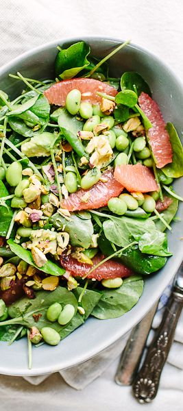 Avocado, Grapefruit, and Edamame Salad recipe: Swap out the soy beans for chickpeas or black beans, if you prefer.