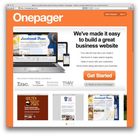 One page websites for your business.