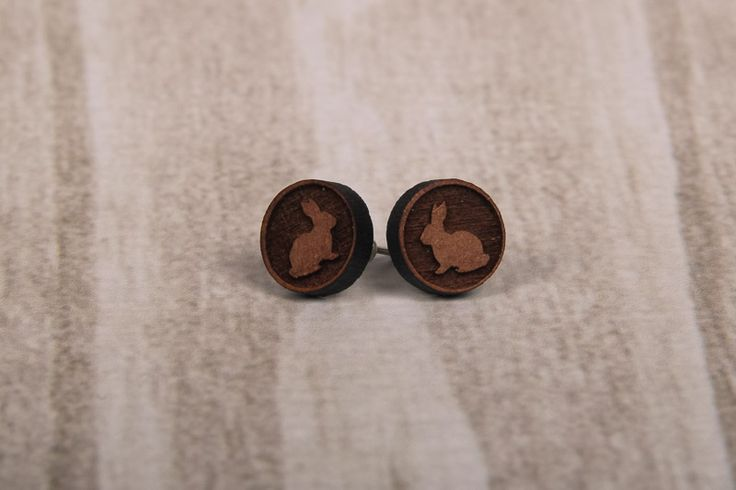 Wooden Laser Cut Big Round Bunny Earrings made in South Africa