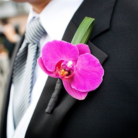 Groomsmen boutonnieres (in this color);  Groom boutonniere exactly like this (in white)