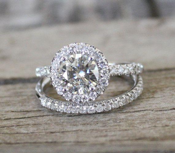 SET 7mm Moissanite Diamond Halo Engagement Ring in by Studio1040