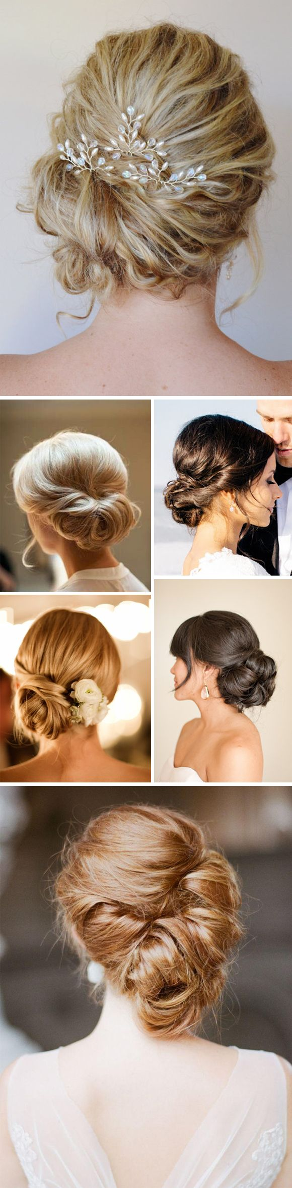 easy pull back with flowers Recogidos bonitos para novias. Wedding hair.