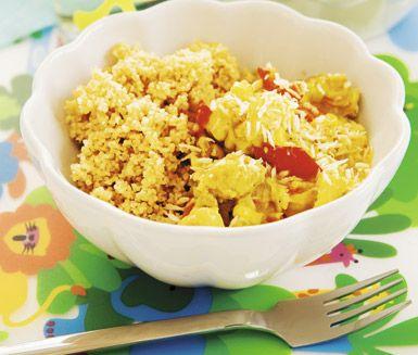 Recept: Kycklinggryta med banan och rostad kokos - använd veganskt kött