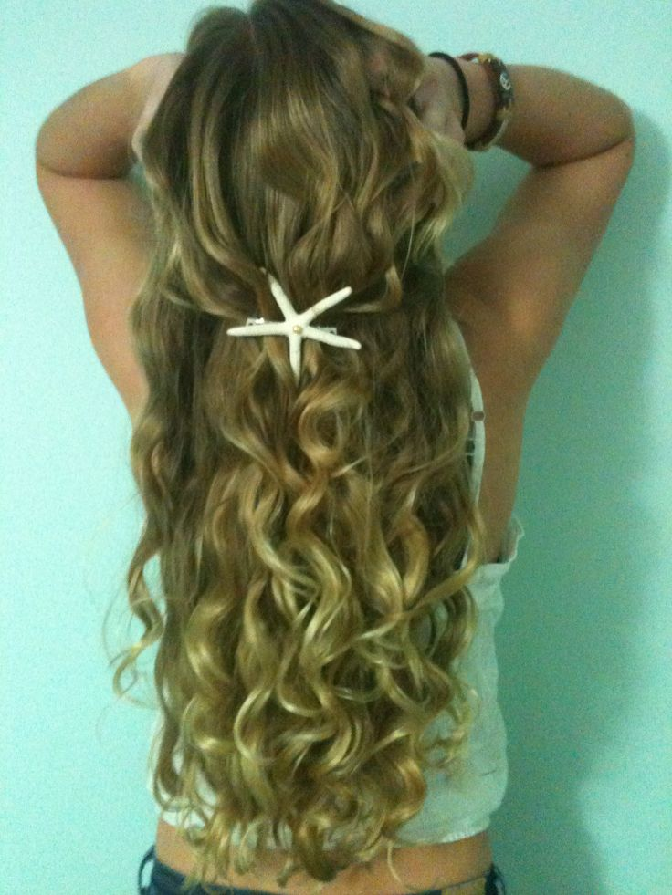 Mermaid hair!: Beaches Hair, Mermaids Hair, Beaches Waves, Summer Hair, Wavy Hair, Hair Pieces, Long Hair, Starfish Hair Clip, Beaches Wedding