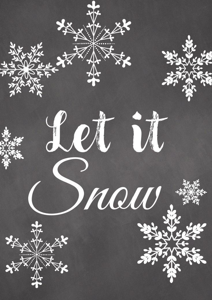 Let it Snow - Printable, als Schablone in Weiß/Schwarz zum kostenlosen Download erhältlich oder als Smartphone Hintergrundbild.
