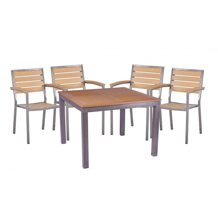 Bonsoni 4 Seater Dining Set With Large Square Table In Teak Asian Garden Outdoor Furniture-30