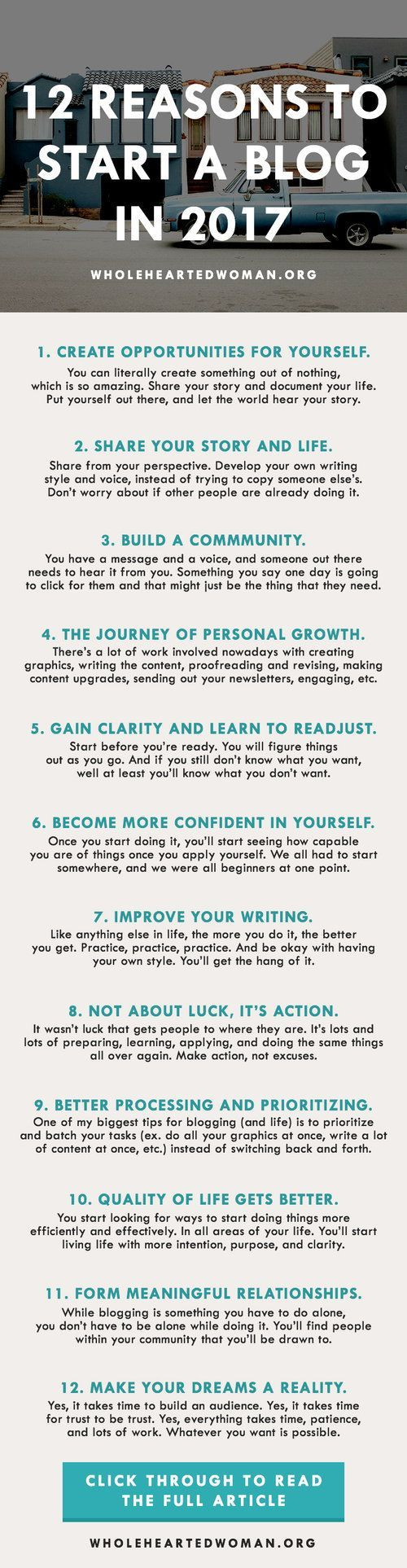 12 Reasons To Start A Blog In 2017   How To Start A Blog   Why You Should Blog   How Blogging Can Help You   Personal Growth And Development Blog   Self-Discovery   Lifestyle   Blogging In 2017   How To Create Your Own Opportunities In Life   How To Improve Your Life