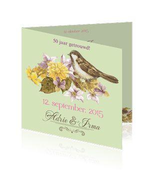 Jubileumkaarten maken met bloemen en het voorjaar in mooie kleuren. De achtergrondkleur kunt u zelf aanpassen.