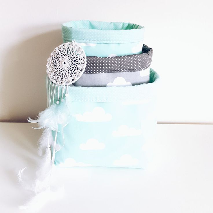 Mint green and grey cloud fabric storage basket. Basket bin. Nappy basket, toy storage, nursery decor, kids room. FREE UK DELIVERY by MeaBeeDesign on Etsy