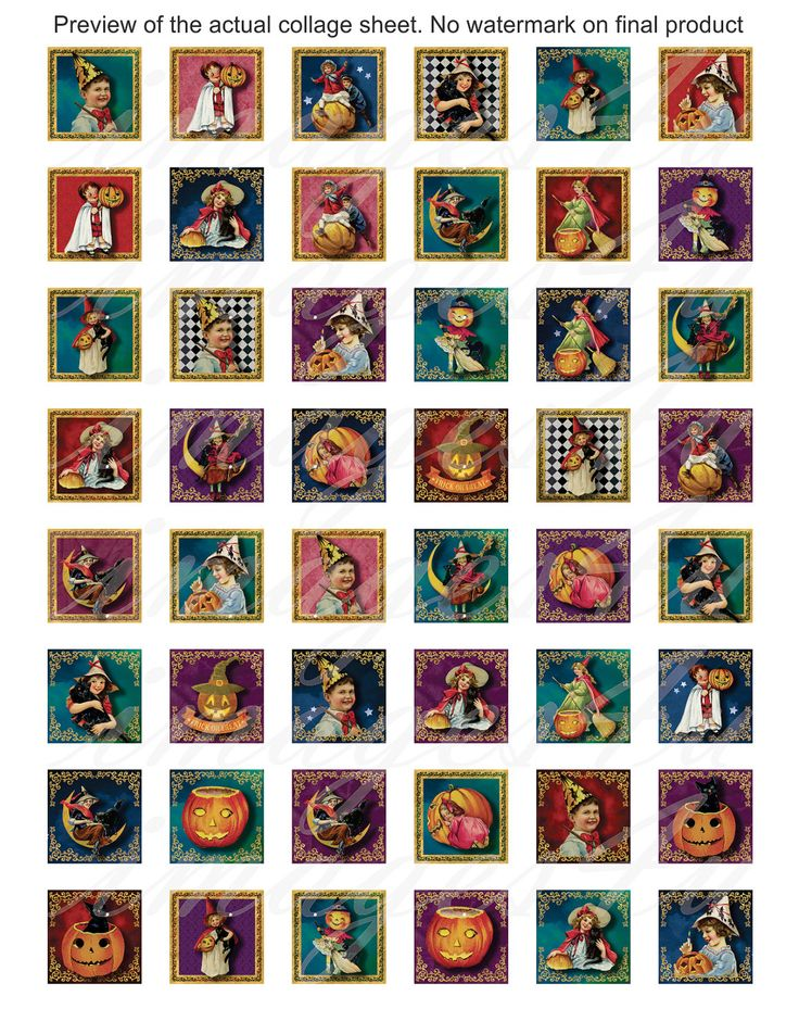 Vintage Halloween Digital Collage Sheet 1x1 inch by images4you