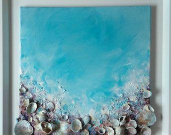 * Bienvenido a .*.*. Día turquesa. *. *. Arte abstracto, mixtas, turquesa el mar en su casa :) La pintura está firmada Pintado con un barniz protector Listo para colgar PINTURA tamaño: 40 x 50 x 4 cm, 16 x 20 x 1,5 en MEDIO: la pintura tiene texturas ricas y muchas capas de pintura de acrílico, piedras de playa, conchas y arena mezclan con fijación de pegamento fuerte en lona estirada COLORES: acrílicos brillantes colores, luz azul, turquesa, naranja. rojo y morado Esta pieza podría se...